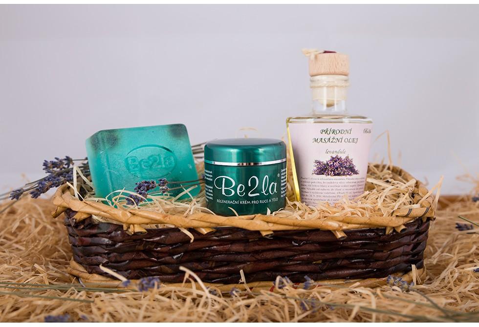 Dárkový koš březové kosmetiky Be2la® - 1 mýdlo, masážní olej, krém