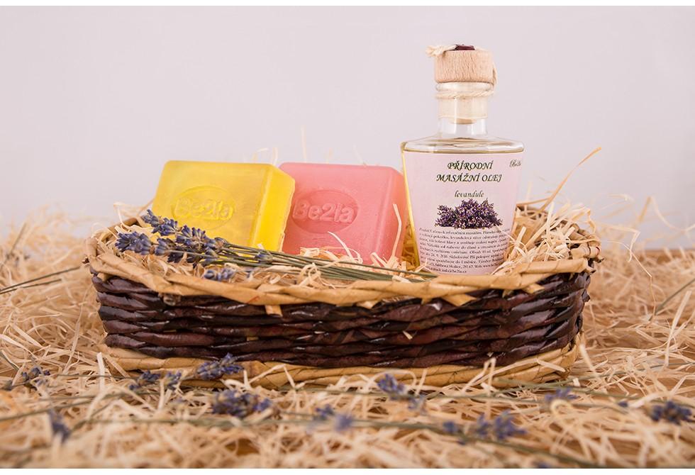 Dárkový koš březové kosmetiky Be2la® - 2 mýdla a masážní olej